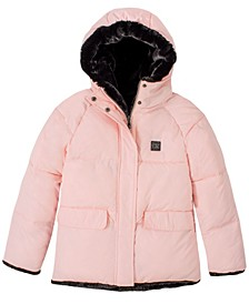 Little Girls Faux Fur Lined Puffer Jacket