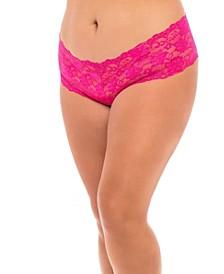 Plus Size Lace Crotchless Boyshort with Elastic Detail