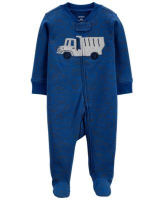 Baby Boys Truck 2-Way Zip Cotton Sleep and Play One Piece
