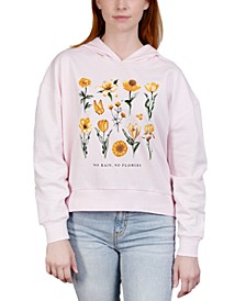 Juniors' Flower-Print Hooded Sweatshirt