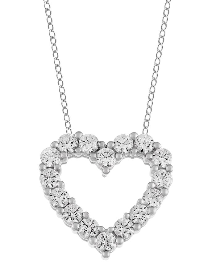 "Macy's - Diamond Heart 18"" Pendant Necklace (1 ct. t.w.) in 14k White Gold"