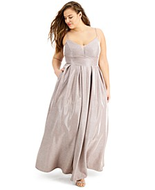 Trendy Plus Size Glitter-Knit Gown, Created for Macy's