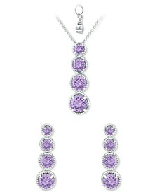 2-Pc. Set Amethyst Graduated Pendant Necklace & Matching Stud Earrings Set (4-7/8 ct. t.w.) in Sterling Silver (Also in Rhodolite Garnet, Blue Topaz, Peridot & Multi-Stone)