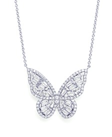 Cubic Zirconia Butterfly Pendant Necklace in Fine Silver Plated