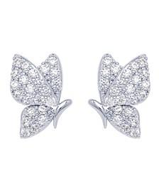 Cubic Zirconia Butterfly Stud Earrings in Fine Silver Plated