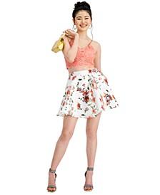 Juniors' 2-Pc. Glitter Lace & Floral-Print Dress