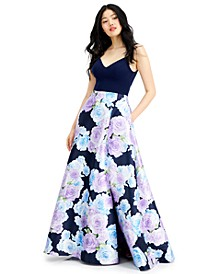 Juniors' Floral-Print Gown