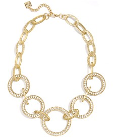 "Crystal Circle Link Collar Necklace, 19"" + 2"" extender"
