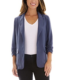 Juniors' Ruched-Sleeve Open-Front Blazer