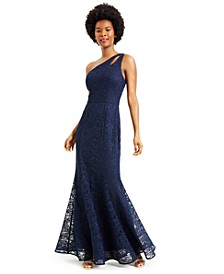 Juniors' One-Shoulder Glitter Lace Gown, Created for Macy's