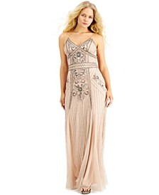 Juniors' Slim Beaded Gown