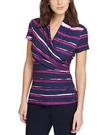 Stripe-Print Side-Ruched Top
