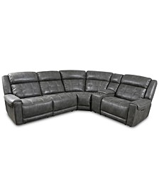 Rihaan 5-Pc. Fabric Sectional with 2 Power Recliners and 1 USB Console, Created for Macy's
