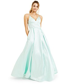 Juniors' Deep V-Neck Satin Gown