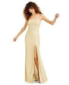 Juniors' Glitter-Knit Gown with Mesh Back, Created for Macy's