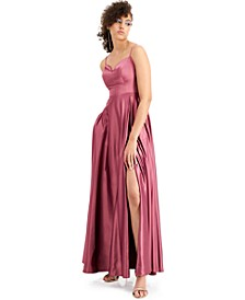 Juniors' Strappy-Back Satin Gown, Created for Macy's
