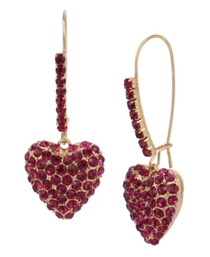 Pave Heart Dangle Earrings