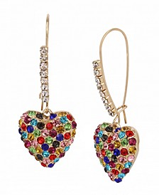 Pave Heart Dangle Earrings