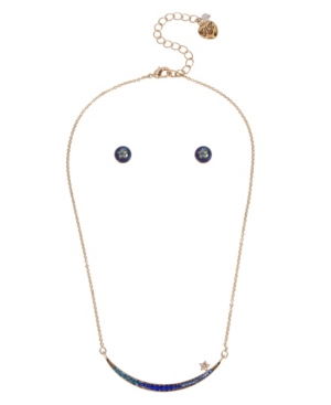 Stone Crescent Necklace and Stud Earrings Set