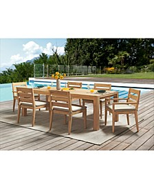 "Willison Teak Outdoor 7-Pc. Dining Set (96"" x 42"" Rectangle Dining Table, 4 Dining Chairs & 2 Dining Arm Chairs) with Sunbrella® Cushions, Created for Macy's"