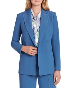 80s Windbreakers, Jackets, Coats Tahari Asl Solid Top-Stitched Blazer $149.00 AT vintagedancer.com