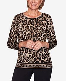 Women's Plus Size Classics Animal Jacquard Sweater