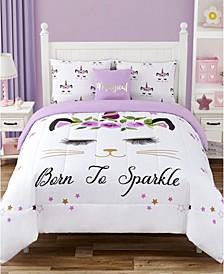Unicorn Kitten 4 Piece Comforter Set, Queen