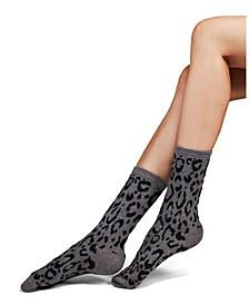 Women's Animal Print Cashmere Blend Crew Socks