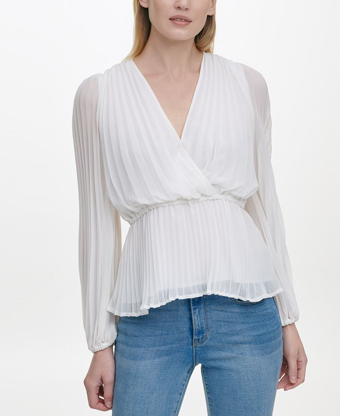 DKNY - Pleated V-Neck Wrap Blouse