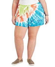 Plus Size Tie-Dyed Knit Track Shorts, Created for Macy's