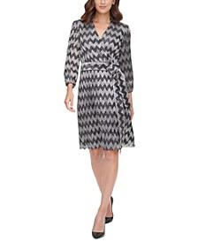 Zigzag-Print Tie-Waist A-Line Dress