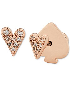 Rose Gold-Tone Pavé Heart Mini Stud Earrings