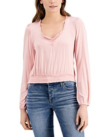 Juniors' Ruffled Smocked-Hem Top