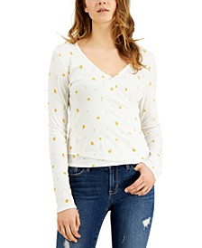 Juniors' Floral-Printed Rib-Knit Surplice Top