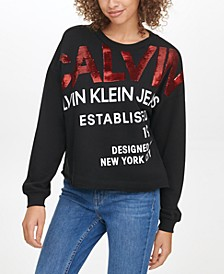 Sequin-Embellished Logo-Graphic Sweatshirt