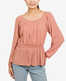 Juniors' Convertible-Neckline Peplum Top