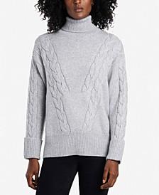 Petite Turtleneck Roll-Cuff Cable-Stitch Sweater