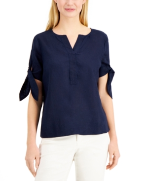 Charter Club Linens LINEN SPLIT-NECK TIE-CUFF TOP, CREATED FOR MACY'S