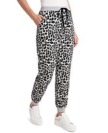 Petite Drawstring Leopard-Print Jogger Pants