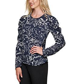 DKNY Floral-Print Puff-Shoulder Top