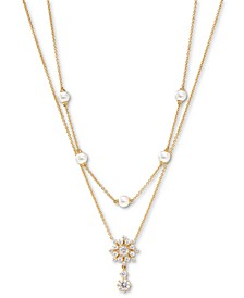 """Felicity Snowflake Crystal & Imitation Pearl Two-Row Necklace, 16"""" + 2"""" extender"""