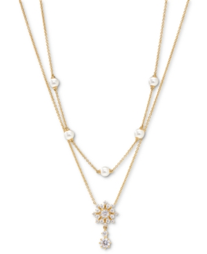 Felicity Snowflake Crystal & Imitation Pearl Two-Row Necklace
