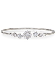 Silver-Plated Cubic Zirconia Snowflake Flex Cuff Bracelet, Created for Macy's