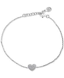 EFFY® Diamond Pavé Heart Link Bracelet (1/8 ct. t.w.) in Sterling Silver