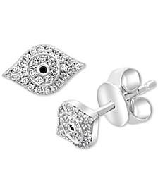 EFFY® Diamond Evil Eye Stud Earrings (1/6 ct. t.w.) in Sterling Silver