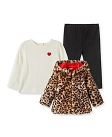 Baby Girls Leopard Print Plush Jacket with Leggings Set