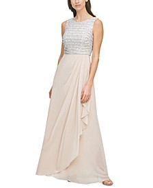 Petite Sequined-Bodice Gown