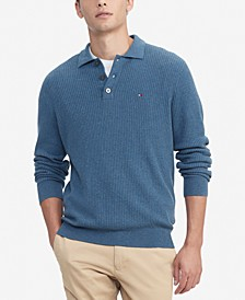 Men's Regular-Fit Textured Sweater-Knit Polo Shirt