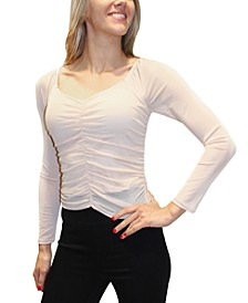 Juniors' Ruched Illusion-Sleeve Top