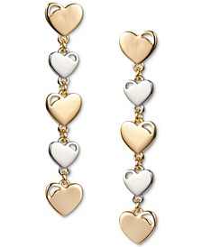INC Two-Tone Heart Linear Drop Earrings, Created for Macy's